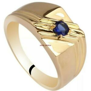 Natural Blue Sapphire Gemstone with 925 Sterling Silver Ring for Men's AJ284
