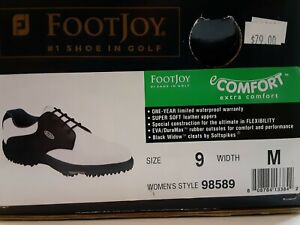 FootJoy Women's Extra Comfort Golf Shoes 9M Black/White Oxford Style #98589