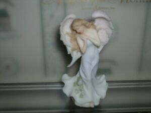 """ROMAN-4 .5""""H SERAPHIM ANGEL OF THE MONTH FIGURINE-FEBRUARY- FLOWER-VIOLET-NEW"""