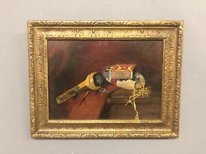 """Signed J. F. Peto 80 Still Life Of Pipe Tobacco And Matches 13 1/4"""" X 17"""""""