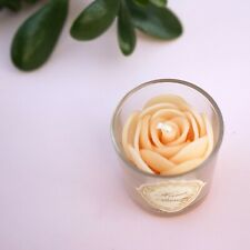 Jasmine Fragarance Scented Beeswax Candle White Rose in Small Votive Glass