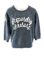 SUPERDRY Womens Jumper Sweater XS Blue Cotton & Polyester