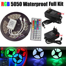 5M RGB 5050 Waterproof LED Strip light SMD 44 Key Remote 12VUS/EU Power Full Kit