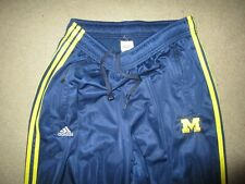 ADIDAS MICHIGAN WOLVERINES MEN'S WARM UP TRACK PANTS XL USED POLYESTER NAVY BLUE