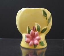 "Vintage Pottery 3D Pink Flower Floral Vase Yellow Signed PAT PNG ORCO ZANO 4"" G8"