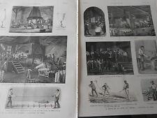 Gravure 1888 - L'industrie du Verre La grève des Verriers