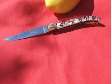 LAGUIOLE COUTEAU PLIANT MOTIF JAPON MITRE LAITON FRENCH KNIFE COLTELLO LAGUIOLE