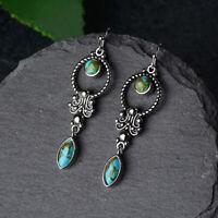 Gemstone Turquoise Dangle Wholesale Drop Vintage Earrings Silver Hooks Boho