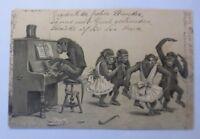Personifiziert, Affen, Klavier, Tanzen, 1900, Prägekarte  ♥ (49121)