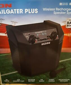 ION Tailgater Plus Wireless Rechargeable Portable Speaker System with Microphone