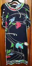Vintage Leonard Paris Dress Large 100% Cotton Euro 40 Blue Pink Swirl Floral