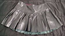 Pleated Joey and T Leather Mini Skirt Black size 6 Free Shipping
