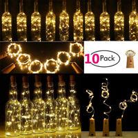 10PCS Bottle Stopper Fairy String Lights Wine Battery Cork Shaped Party Wedding