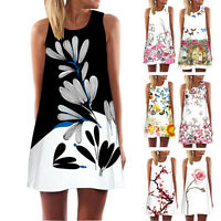 Fashion Boho Women Summer Sleeveless Beach Printed Short Mini Dress Top T Shirt