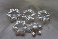 Perlen Acryl Blüten Blumen perlmutt weiß 21x5mm Schmuck basteln DIY