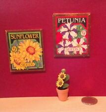 Dollhouse Miniature Set 2 Seed Packet Pictures & Pot of Sunflowers 1:12 scale