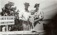 1930s Grand Glaize Beach Lake of the Ozarks Missouri Grandparents Baby Vtg Photo