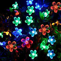 7M 50LED Solar Powered Fairy String Flower Light Colorful Garden Party Decors US