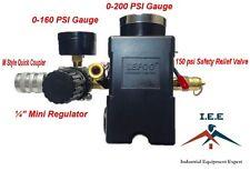 "Air Compressor Pressure Switch 95-125 PSI 4 Ports w/ 1/4"" Mini Regulator Set"
