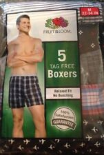 """Boxers 5 pack mens size M waist 32-34"""" new cotton Fruit of the Loom prints solid"""