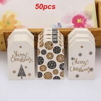 50PC Christmas Kraft Paper Hang Tag Labels Gift Wrapping Santa Claus Xmas Decor
