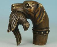 Old Bronze Hand Carved Dog Bitten Birds Statue Cane Walking Stick Head