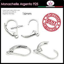 4 MONACHELLE con chiusura in ARGENTO 925 Italy, ganci per orecchini TOP QUALITY