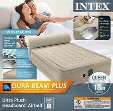 "Intex Queen 18"" Dura-Beam Ultra Plush Headboard Airbed Mattress w/ Internal Pump"