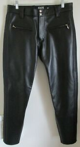 """665 One # SHORT OF HELL West Hollywood California Black Leather Pants 34"""" x 30"""""""