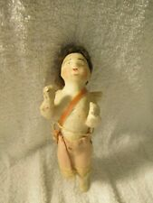 Vtg German Flying Wax/Composition Angel W/Spun Glass Wings & Brown Hair Ornament