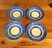 "Set of 4 Churchill Blue Willow 5 1/2"" Saucer Plate Made in England"