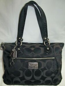 Coach Poppy Black Sateen Signature Glam Extra Large Tote Shoulder Bag Purse