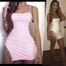 Ladies Crystal Tassel Thigh Cut Out Mini Dress Asymmetric Bodycon Cocktail Party