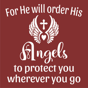 Joanie Stencil He Will Order His Angels Protect You Blessed Wings DIY Cross Sign