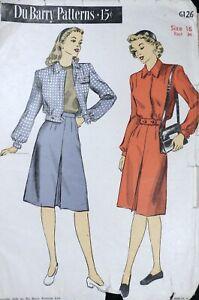 Vtg 1940s DuBarry 6126 Lumber Jacket Pleated Skirt SEWING PATTERN 16 Uncut FF