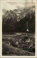 Mittenwald alte Ansichtskarte 1932 gelaufen Gesamtansicht mit Karwendel Panorama