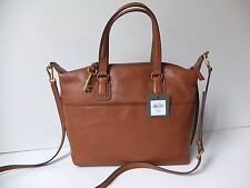 Fossil  Leather Julia Satchel/Cross body Bag In cognac new with tags