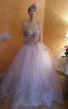 3Pc Silver White Rhinestone Crystal Bralette Top Tulle BellyDance Skirt Sash Set