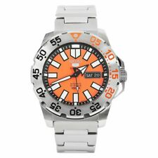 Seiko 5 Sports Diver Baby Orange Monster Silver Steel Orange Dial Mens SRP483K1