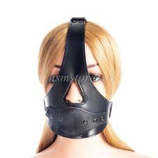 Restraints detachable Plug Mouth Gag PU Leather Bondage Hood Head Harness BDSM