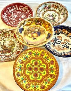 LOT OF 6 DAHLER TIN ROUND BOWLS TRAYS MADE IN ENGLAND