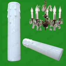 5X Blanc Goutte Bougie Cire Effet Lustre Ampoule Lumière Poche Housse 150mm