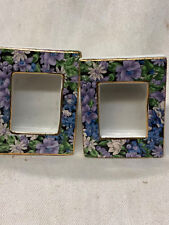 TWO'S COMPANY TWC3 MOLLIE  SET OF 2 MINIATURE PICTURE FRAMES PURPLE WHITE CHINTZ