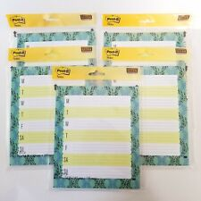 Post It Sticky Notes Weekly Planner 25 Sheets 65 X 78 Super Sticky Aqua Lot