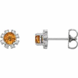 Citrin & 1/2 Karat Diamant Ohrringe Platin