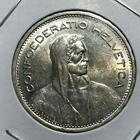 1933-B SWITZERLAND FIVE SILVER FRANCS HIGHER GRADE