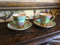 Pair English Chintz Staffordshire Demitasse Cups and Saucers Vintage