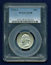 U.S. 1932-S WASHINGTON QUARTER/25 CENTS, ALMOST UNCIRCULATED CERTIFIED PCGS-AU58