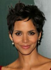 Halle Berry's Graceful Hair Style Hand Tied Super Natural Short Straigh Hair Wig