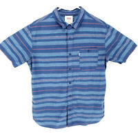 Levi's Medium Striped Button Up Casual Shirt Short Sleeve Blue Multicolor